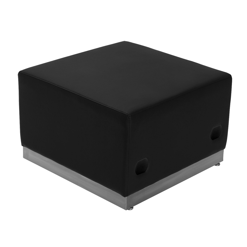#5 - LOUNGE SERIES BLACK LEATHER OTTOMAN WITH BRUSHED STAINLESS STEEL BASE