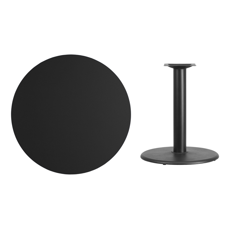 #41 - 36'' Round Black Laminate Table Top with 24'' Round Table Height Base