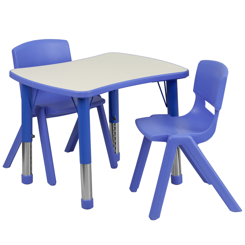 #13 - 21.875''W X 26.625''L ADJUSTABLE RECTANGULAR BLUE PLASTIC ACTIVITY TABLE SET WITH 2 SCHOOL STACK CHAIRS