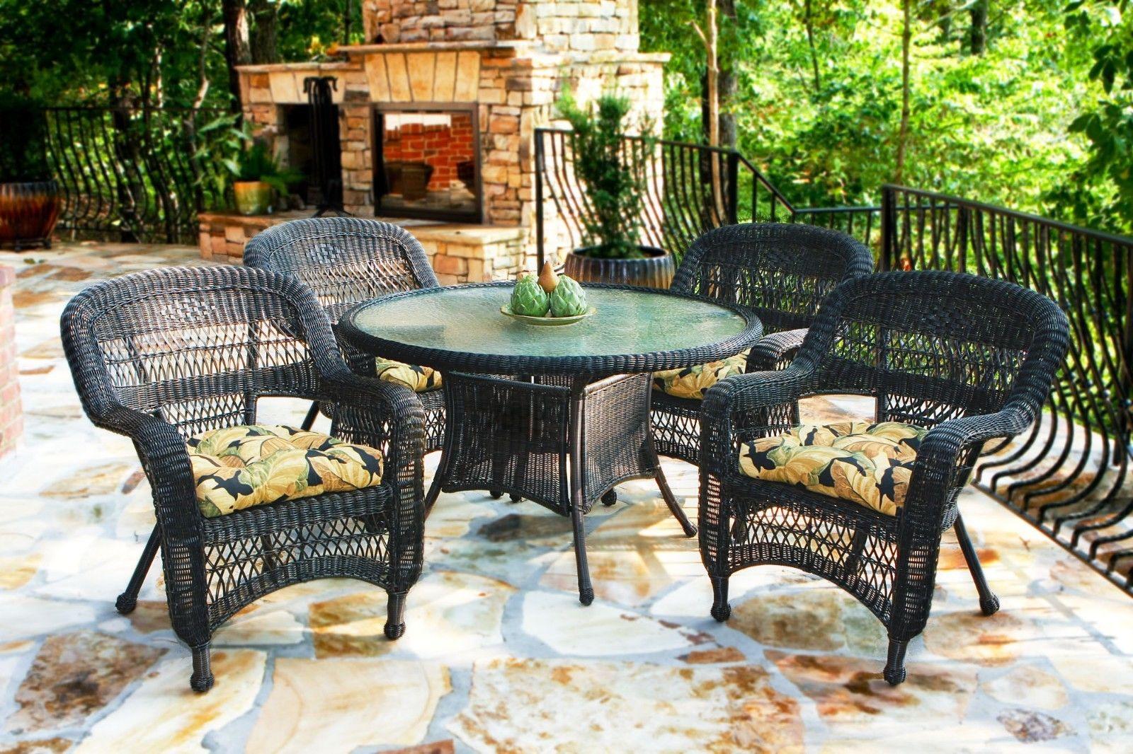 #36 - 5 Piece Outdoor Patio Dark Roast Resin Wicker Dining Set w/ Lemoyne Night Fabric