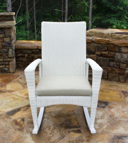 #166 - Outdoor Portside Patio Furniture Magnolia Wicker Rocking Chair - Aluminum Frame