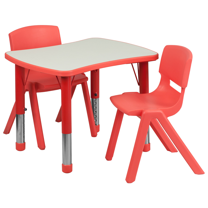 #15 - 21.875''W X 26.625''L ADJUSTABLE RECTANGULAR RED PLASTIC ACTIVITY TABLE SET WITH 2 SCHOOL STACK CHAIRS