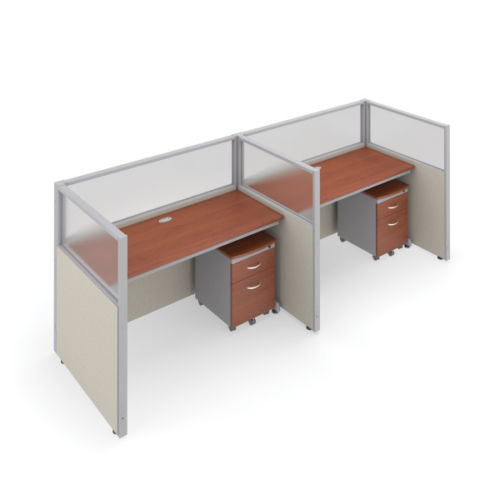 #17 - 47'' H x 60'' W 2 Rize Office Privacy WorkStation in Beige Vinyl w/Cherry Finish