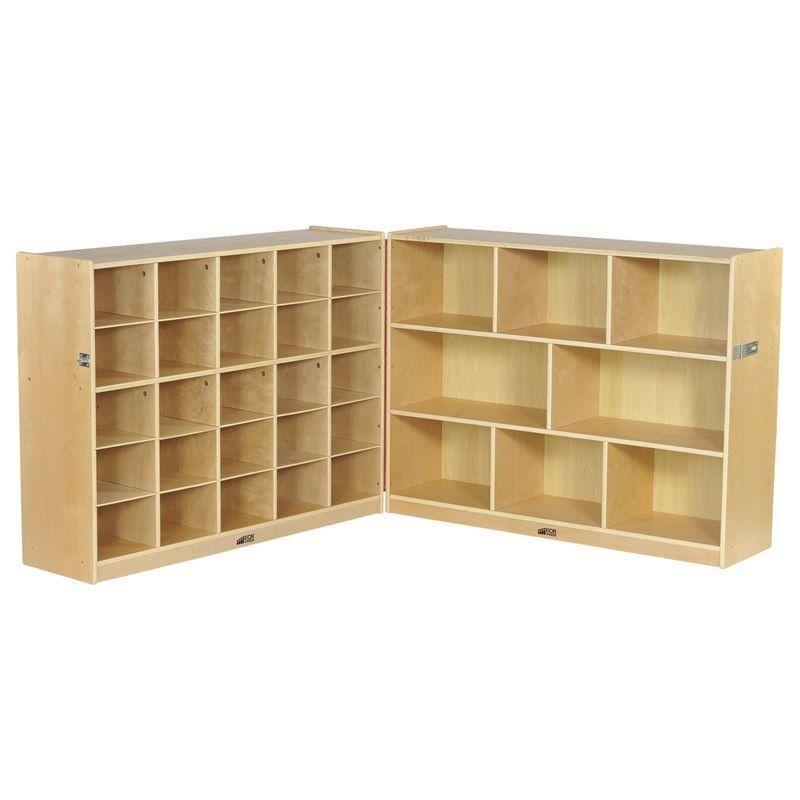 #11 - 36'' Fold & Lock 25 Tray Storage Cabinet w/ 25 Beige Container Bins