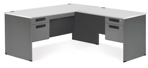 #1 - Executive Series Secretarial Office Desk with Gray Top and Right Return