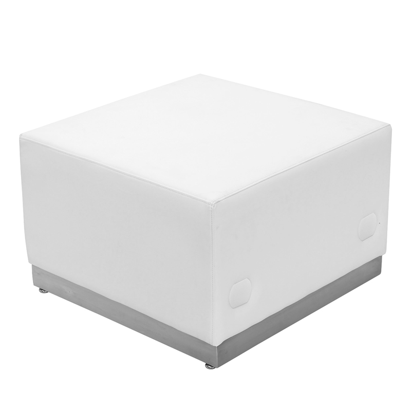 #59 - LOUNGE SERIES WHITE LEATHER OTTOMAN WITH BRUSHED STAINLESS STEEL BASE