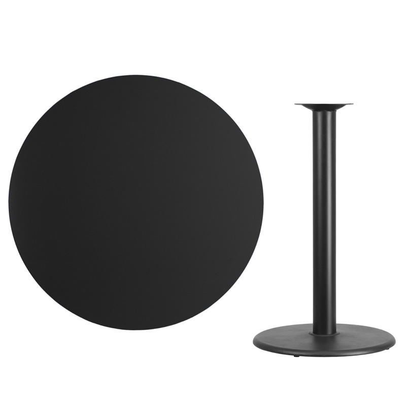 #57 - 42'' Round Black Laminate Table Top with 24'' Round Bar Height Base