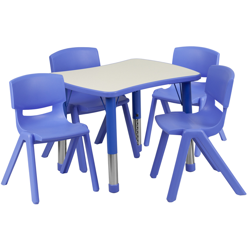 #16 - 21.875''W X 26.625''L ADJUSTABLE RECTANGULAR BLUE PLASTIC ACTIVITY TABLE SET WITH 4 SCHOOL STACK CHAIRS