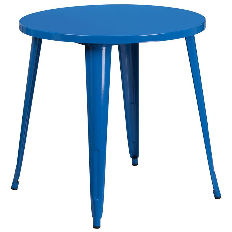 #80 - 30'' Industrial Style Blue Metal Indoor-Outdoor Restaurant Table Height
