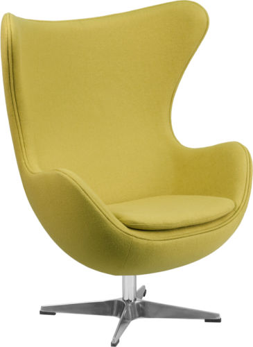 #40 - Green Wool Fabric Egg Chair with Tilt-Lock Mechanism - Accent Lounge Chair