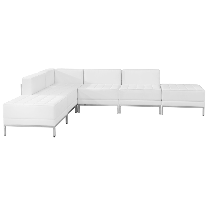 #68 - 6 Piece Imagination Series White Leather Sectional Configuration