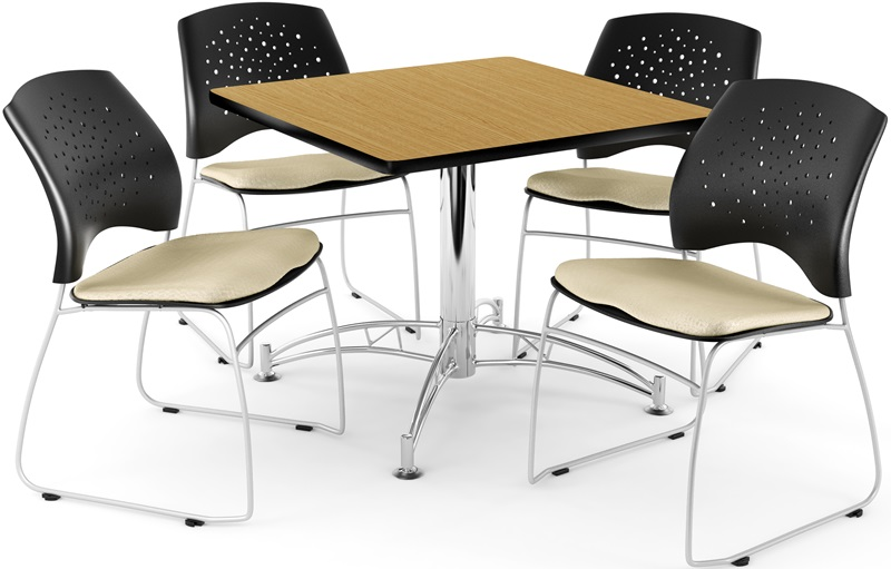 #60 - Multi-Purpose 42'' Square Table in Oak Finish with 4 Star Stack Chairs in Khaki Color