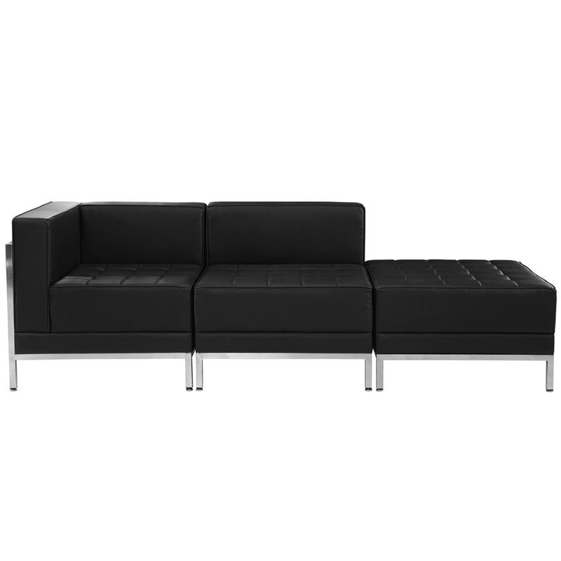 #31 - 3 Piece Imagination Series Black Leather Chair & Ottoman Set