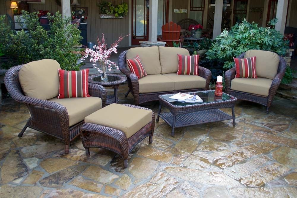 #106 - 6 Piece Outdoor Patio Furniture Java Resin Wicker Deep Seating Love Seat Set
