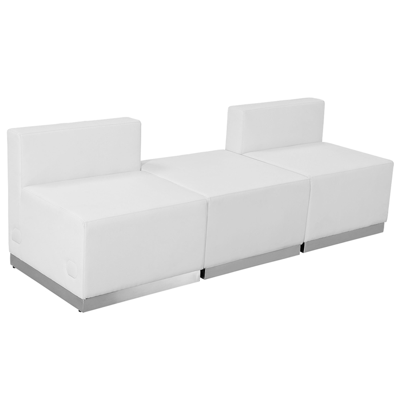#60 - LOUNGE SERIES WHITE LEATHER RECEPTION CONFIGURATION, 3 PIECES