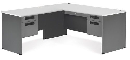 #3 - Executive Series Secretarial Office Desk with Gray Top and Left Return