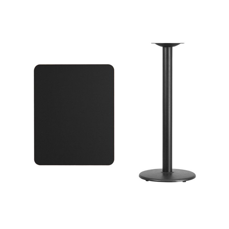 #129 - 24'' X 30'' RECTANGULAR BLACK LAMINATE TABLE TOP WITH 18'' ROUND BAR HEIGHT BASE