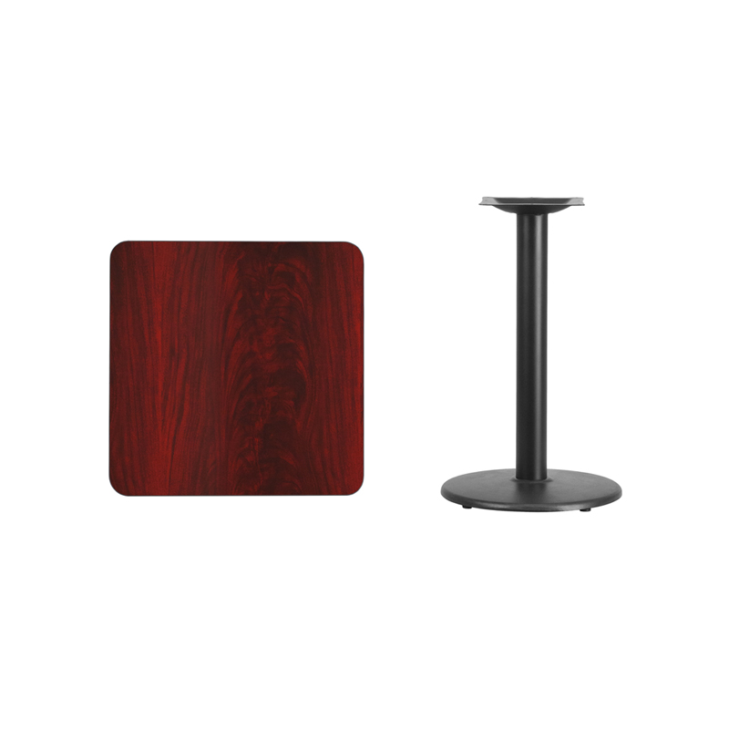 #74 - 24'' SQUARE MAHOGANY LAMINATE TABLE TOP WITH 18'' ROUND TABLE HEIGHT BASE