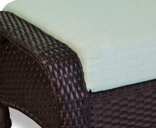 #138 - Outdoor Patio Garden Furniture Tortoise Resin Wicker Ottoman in Rave Spearmint