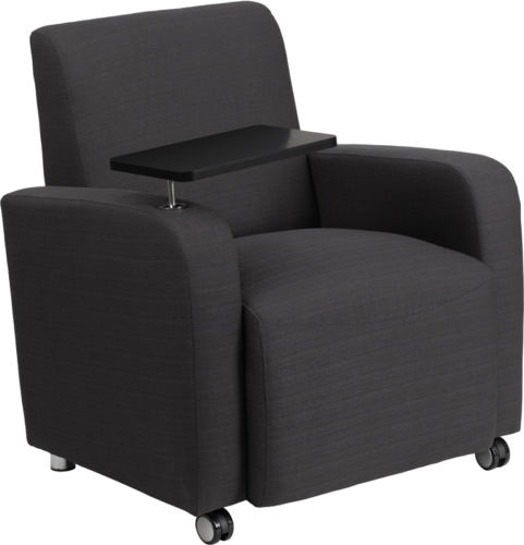 #102 - Gray Fabric Guest Chair with Tablet Arm and Front Wheel Casters