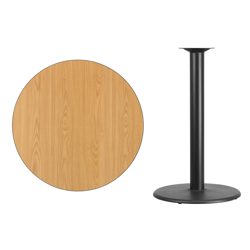 #46 - 36'' Round Natural Laminate Table Top with 24'' Round Bar Height Base