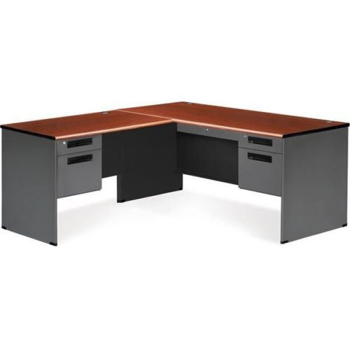 #4 - Executive Series Secretarial Office Desk with Cherry Top and Left Return