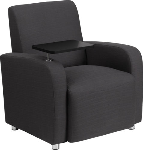 #103 - Gray Fabric Guest Chair with Tablet Arm and Chrome Legs