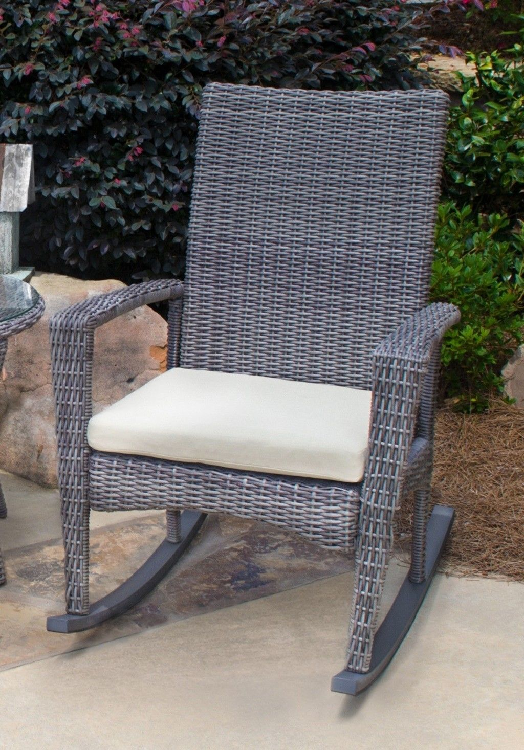 #167 - Outdoor Portside Patio Furniture Driftwood Wicker Rocking Chair/ Aluminum Frame