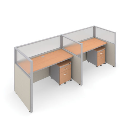#18 - 47'' H x 60'' W 2 Rize Office Privacy WorkStation in Beige Vinyl w/Maple Finish
