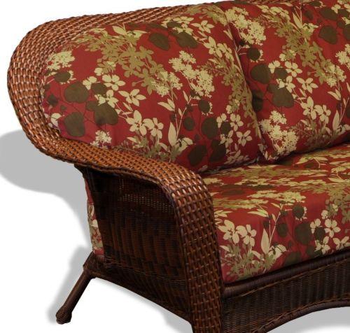 #65 - Outdoor Patio Garden Furniture Java Resin Wicker Sofa - Montfleuri Sangria