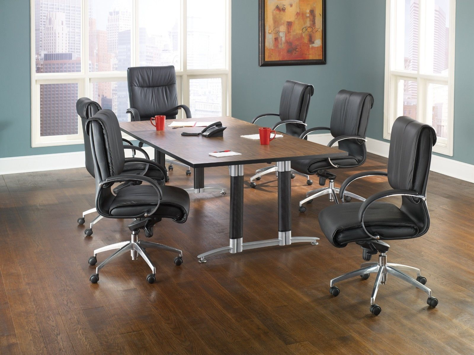 "#3 - 48"" x 96"" Conference Table Mesh Base High-Pressure Laminate Surface Oak Finish"