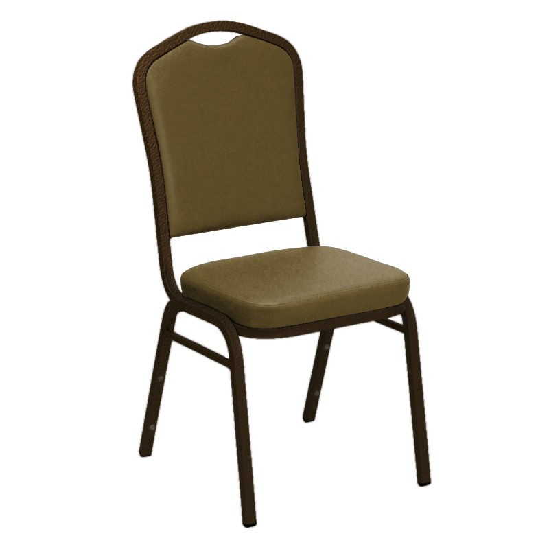 #16 - WALLABY TAN VINYL UPHOLSTERED CROWN BACK BANQUET CHAIR - GOLD VEIN FRAME