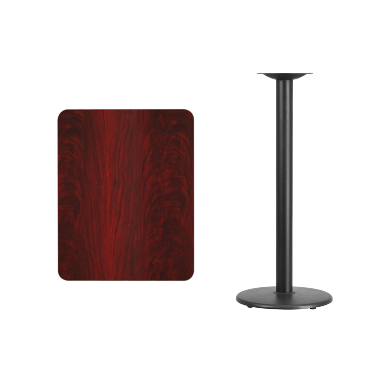 #131 - 24'' X 30'' RECTANGULAR MAHOGANY LAMINATE TABLE TOP WITH 18'' ROUND BAR HEIGHT BASE