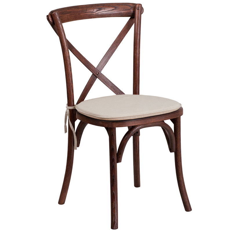 #2 - Bistro Style Cross Back Mahogany Wood Stackable Restaurant Chair with Seat Cushion