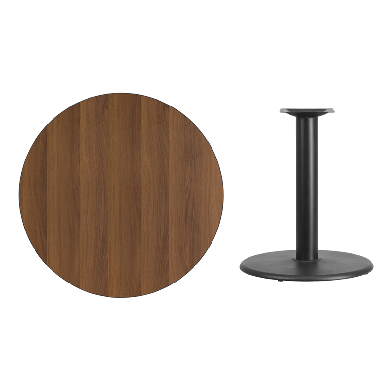 #47 - 36'' Round Walnut Laminate Table Top with 24'' Round Table Height Base
