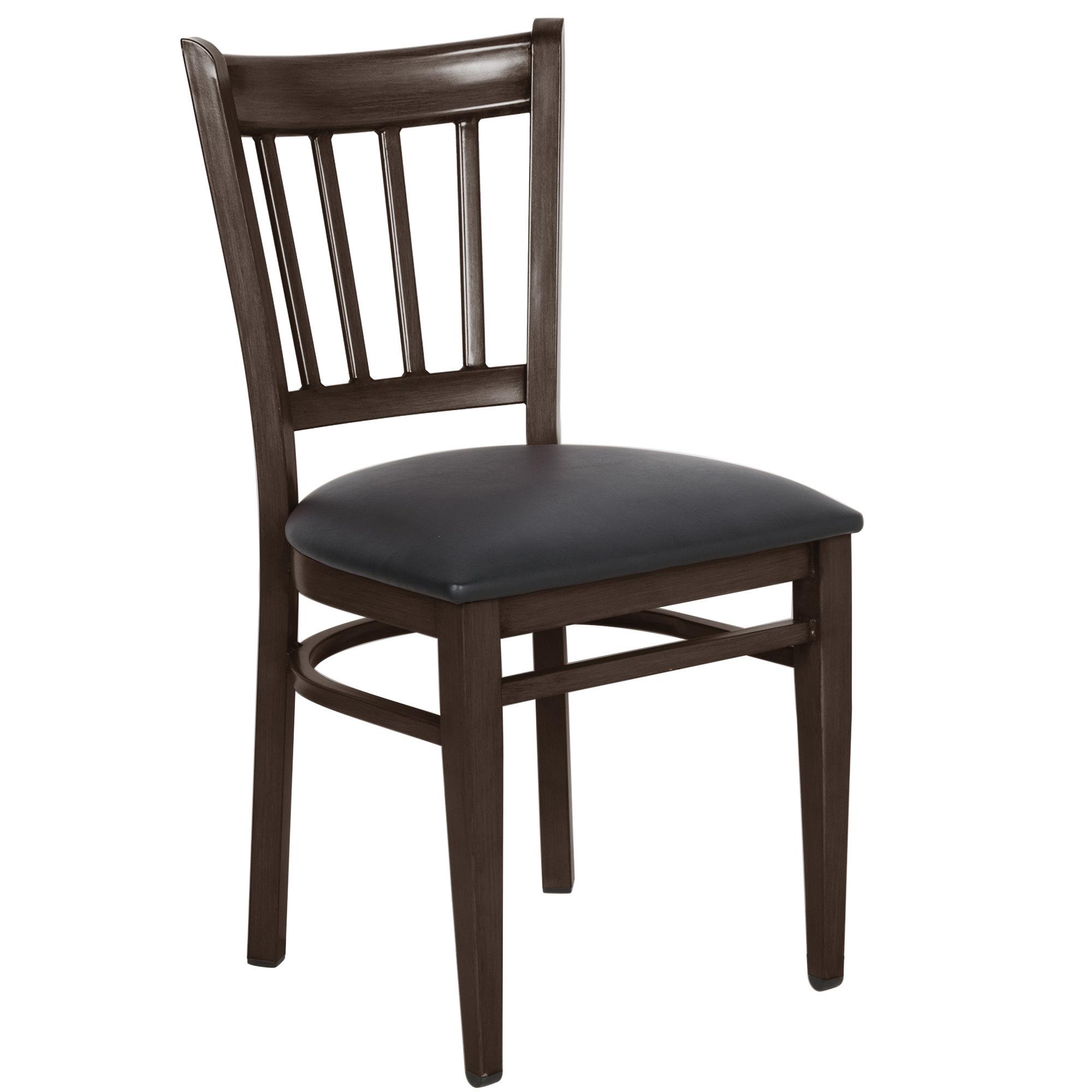 #136 - Slat Back Design Metal Restaurant Chair with Walnut Wood Grain Finish and Black Vinyl Seat