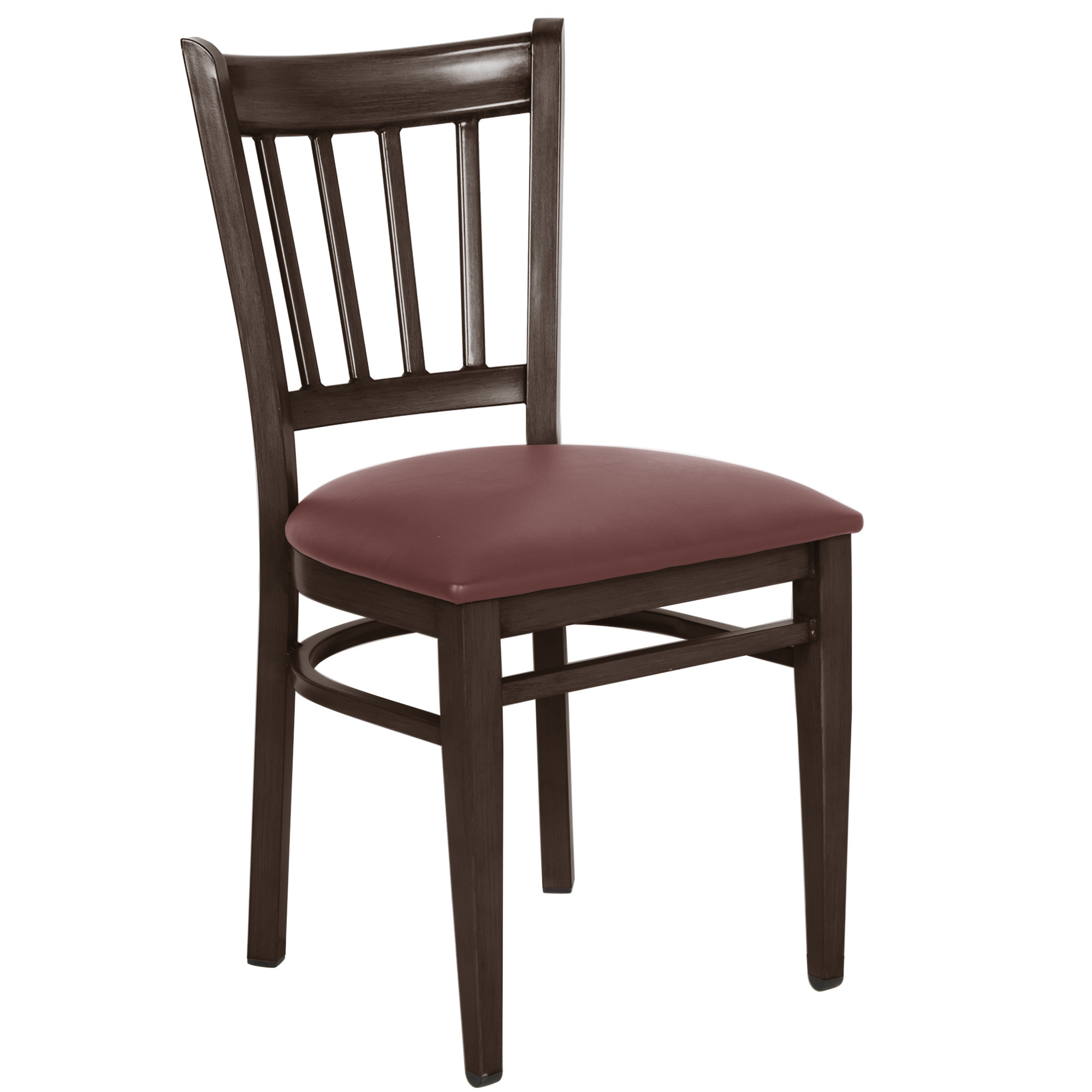 #137 - Slat Back Design Metal Restaurant Chair with Walnut Wood Grain Finish and Burgundy Vinyl Seat