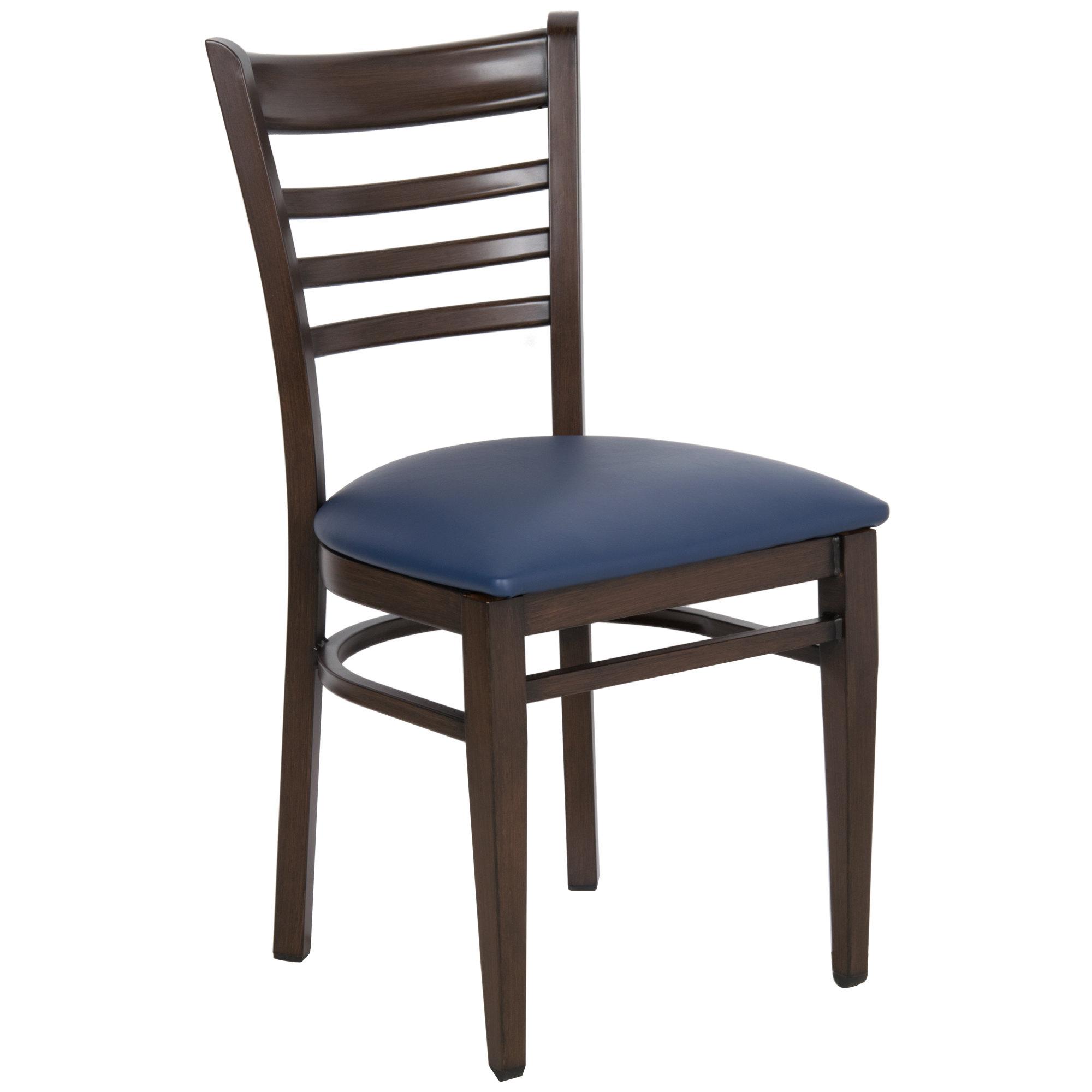 #144 - Ladder Back Design Metal Restaurant Chair with Walnut Wood Grain Finish and Navy Vinyl Seat