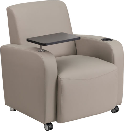 #104 - Gray Leather Guest Chair with Tablet Arm,Front Wheel Casters and Cup Holder
