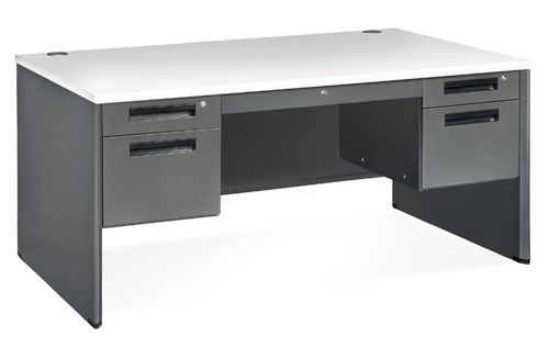 #10 - Executive Series Office Desk w/ Double Pedestal Panel End Desk Gray Color