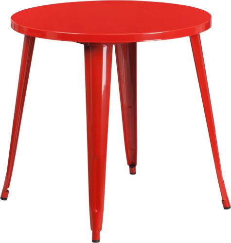#84 - 30'' Industrial Style Red Metal Indoor-Outdoor Restaurant Table Height