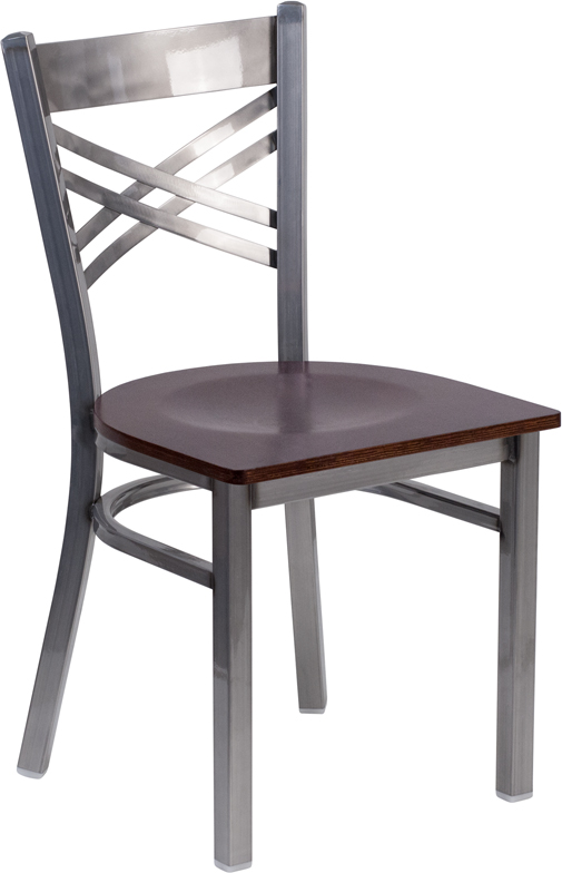 #33 - Clear Coated ''X'' Back Metal Restaurant Chair Walnut Finished Wood Seat