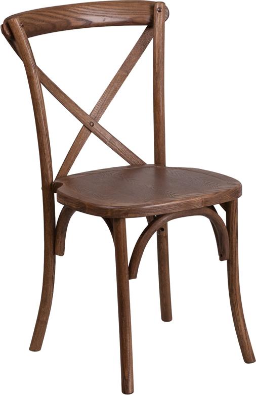 #3 - Bistro Style Cross Back Pecan Wood Stackable Restaurant Chair