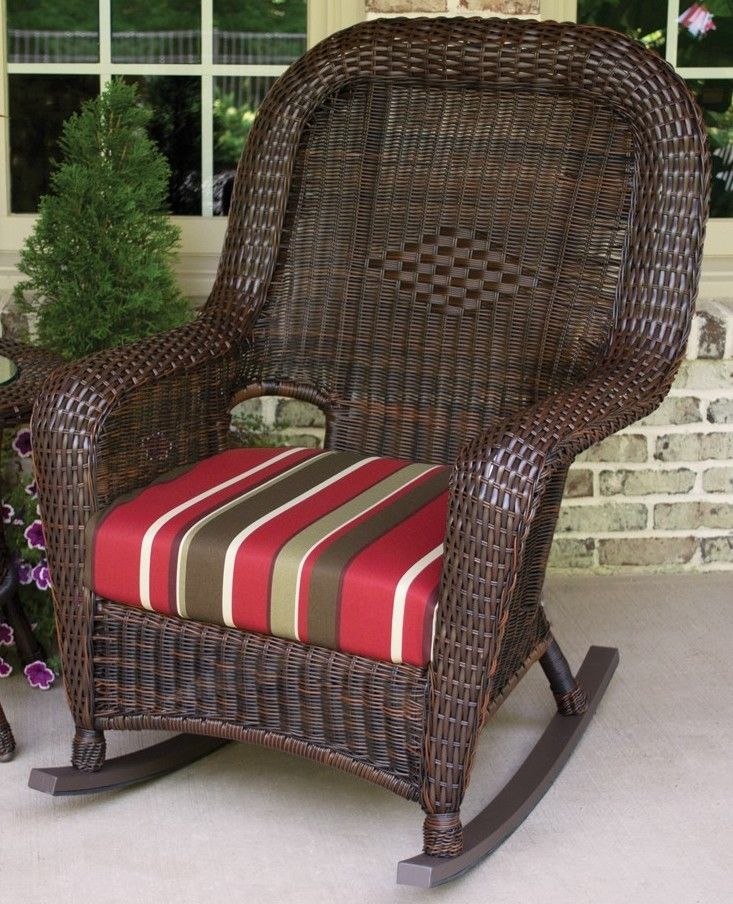 #80 - Outdoor Patio Garden Furniture Java Resin Wicker Rocking Chair and Table Bundle in Monserrat