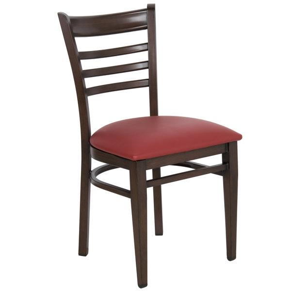 #142 - Ladder Back Design Metal Restaurant Chair with Walnut Wood Grain Finish and Burgundy Vinyl Seat