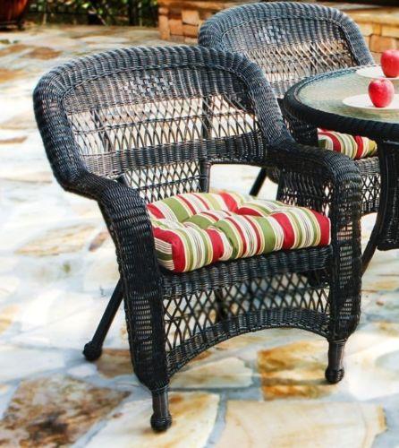#37-5 Piece Outdoor Patio Dark Roast Resin Wicker Dining Set w/ East Pompeii Fabric