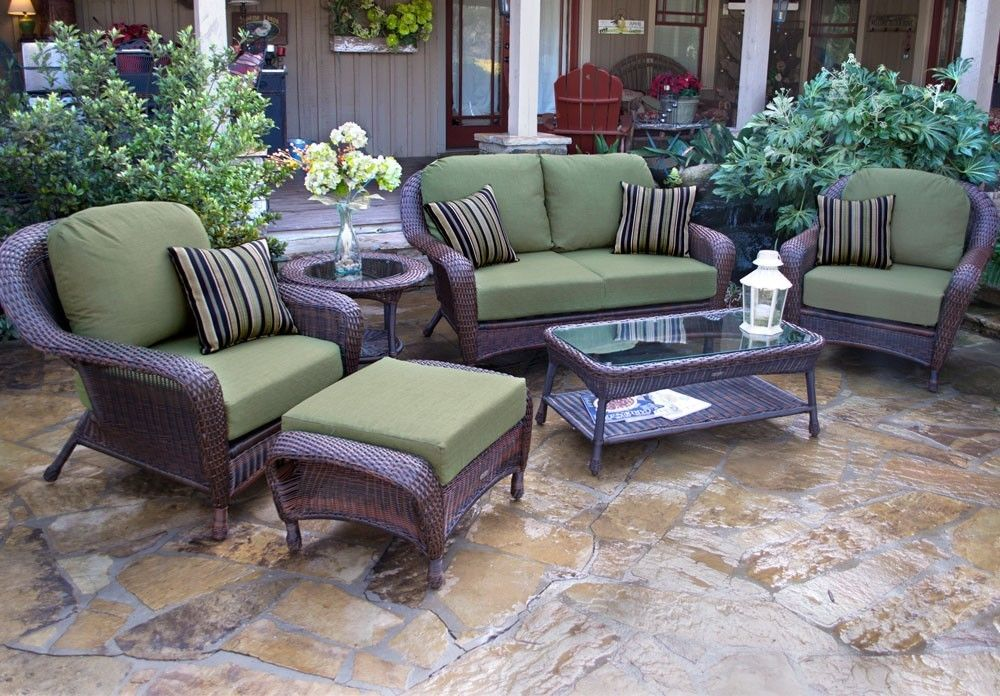 #109 - 6 Piece Outdoor Patio Furniture Java Resin Wicker Deep Seating Love Seat Set