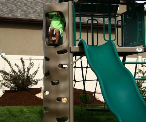 # 9 - Heavy-Duty Metal Playset with Clubhouse, Picnic Table and Bucket Seat in Earthtone