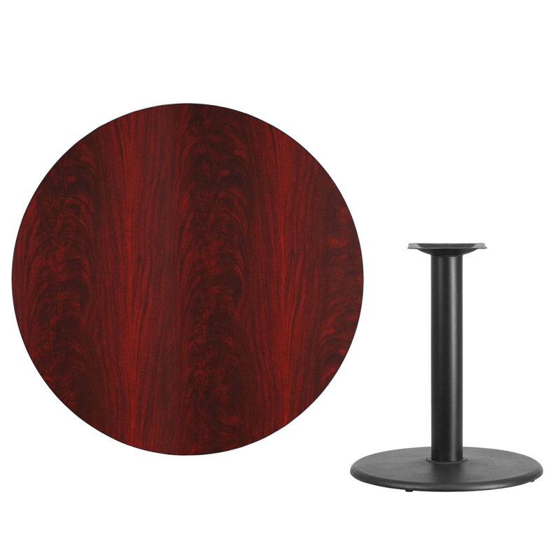 #58 - 42'' Round Mahogany Laminate Table Top with 24'' Round Table Height Base