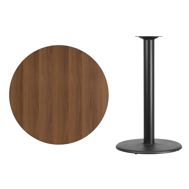 #48 - 36'' Round Walnut Laminate Table Top with 24'' Round Bar Height Base
